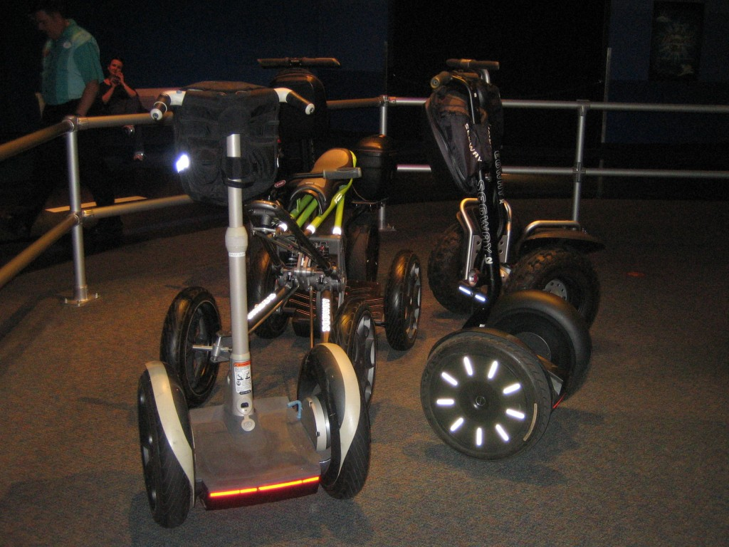 Different types of Segway vehicles on display
