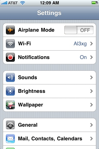iPhone Settings Screenshot