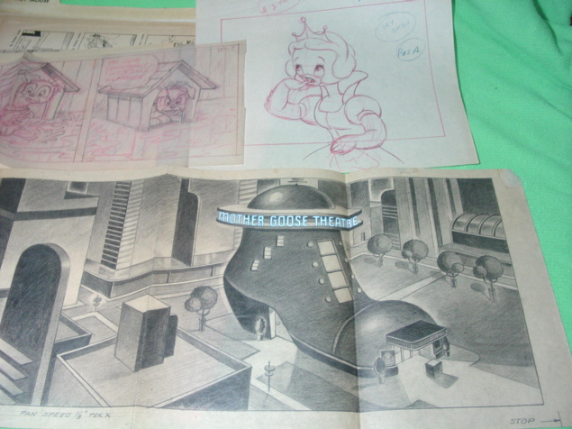 Scamp Comic and Mother Goose Theatre Pencil Sketches