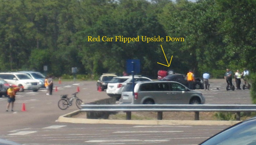 Epcot Parking Lot Car Crash Results in Upside Down Sedan