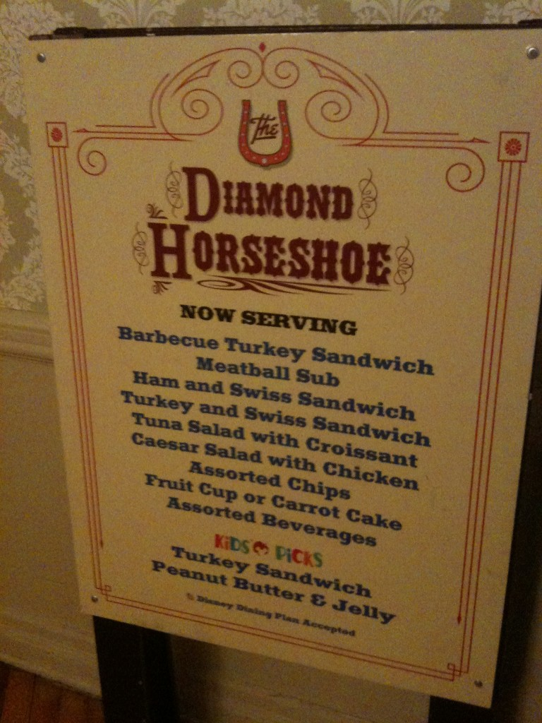 The Diamond Horseshoe Restaurant Menu Board hidden in an Alcove