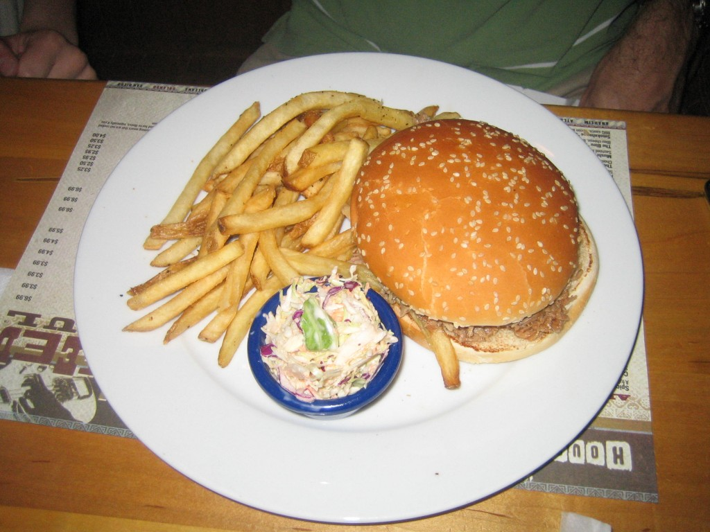 House of Blues Pulled Pork Sandwich with Fries and Slaw