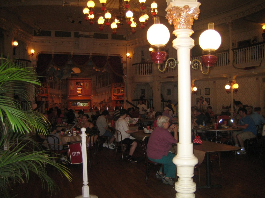 Tables set up in the main hall in front of the stage
