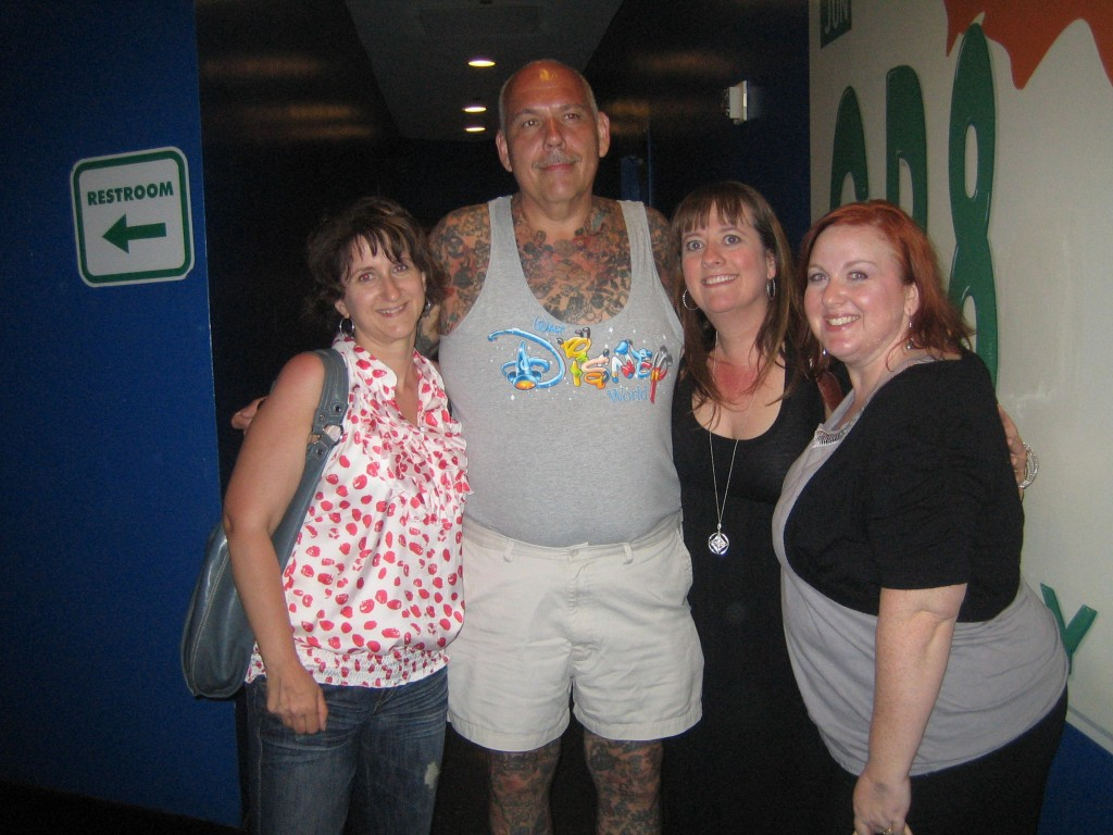 "(left to right) Kathie Flood, George Reiger aka ""The Disney Tatoo Guy"", Me and Suzannah DiMarzio"