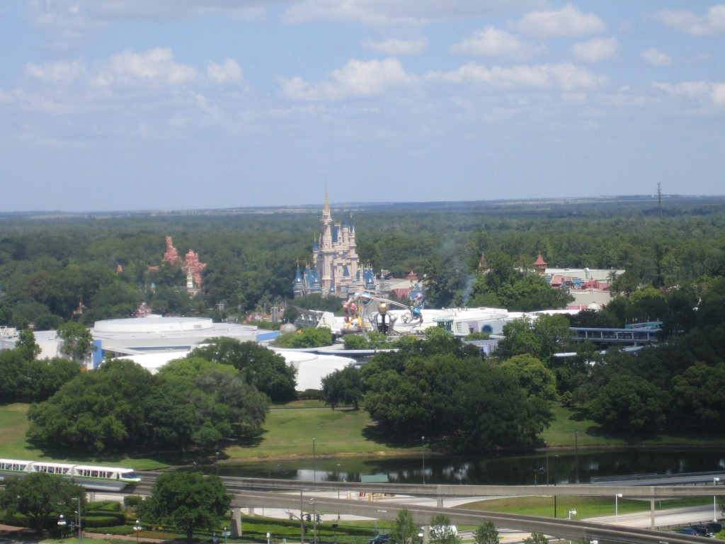 A closer look at the Magic Kingdom with Monorail Green in the corner