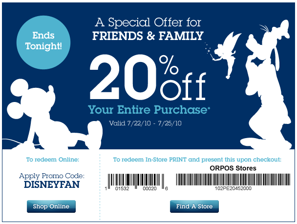 Coupon for 20% Off Your Entire Purchase at the Disney Store