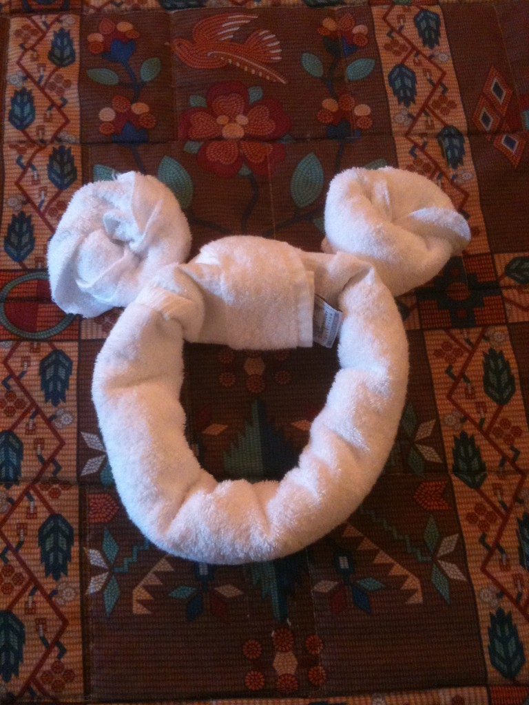 A lil extra magic in our room as we are greeted by a towel Mickey