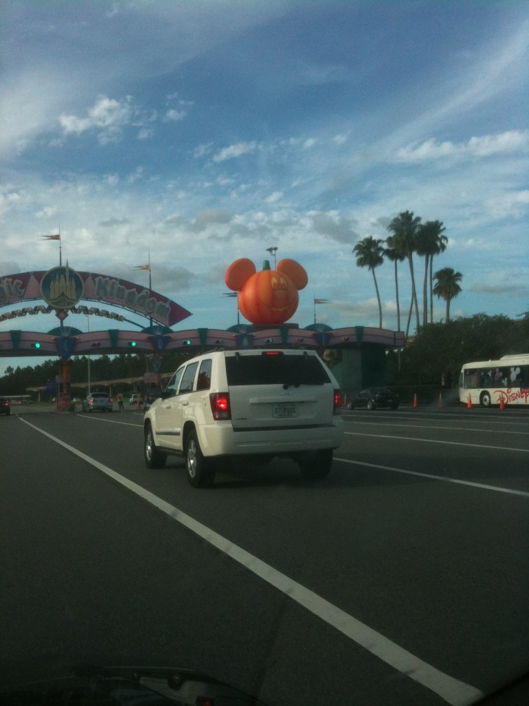 Giant pumpkins greet you at the Magic Kingdom Ticket Booths