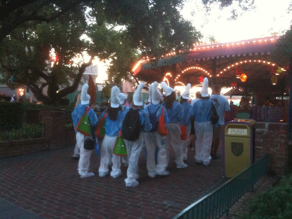A gaggle of Smurfs near the Mad Tea Party