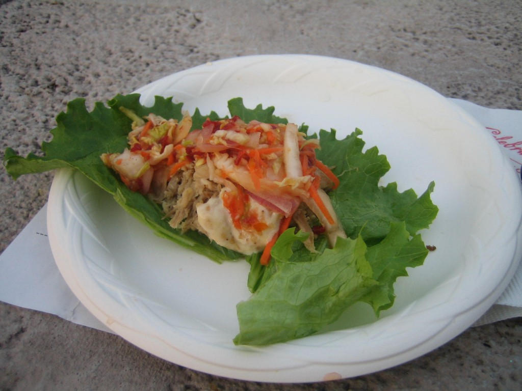 Lettuce Wraps with Roast Pork and Kimchi Slaw