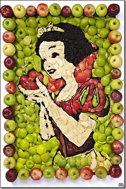 Disney Snow White Mural made from Apples