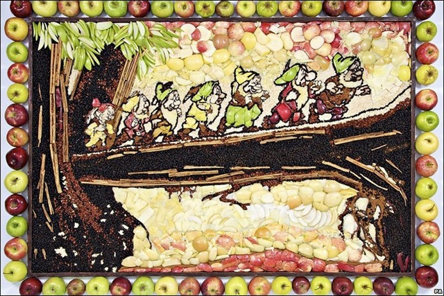 Disney Snow White Seven Dwarfs Apple Mural