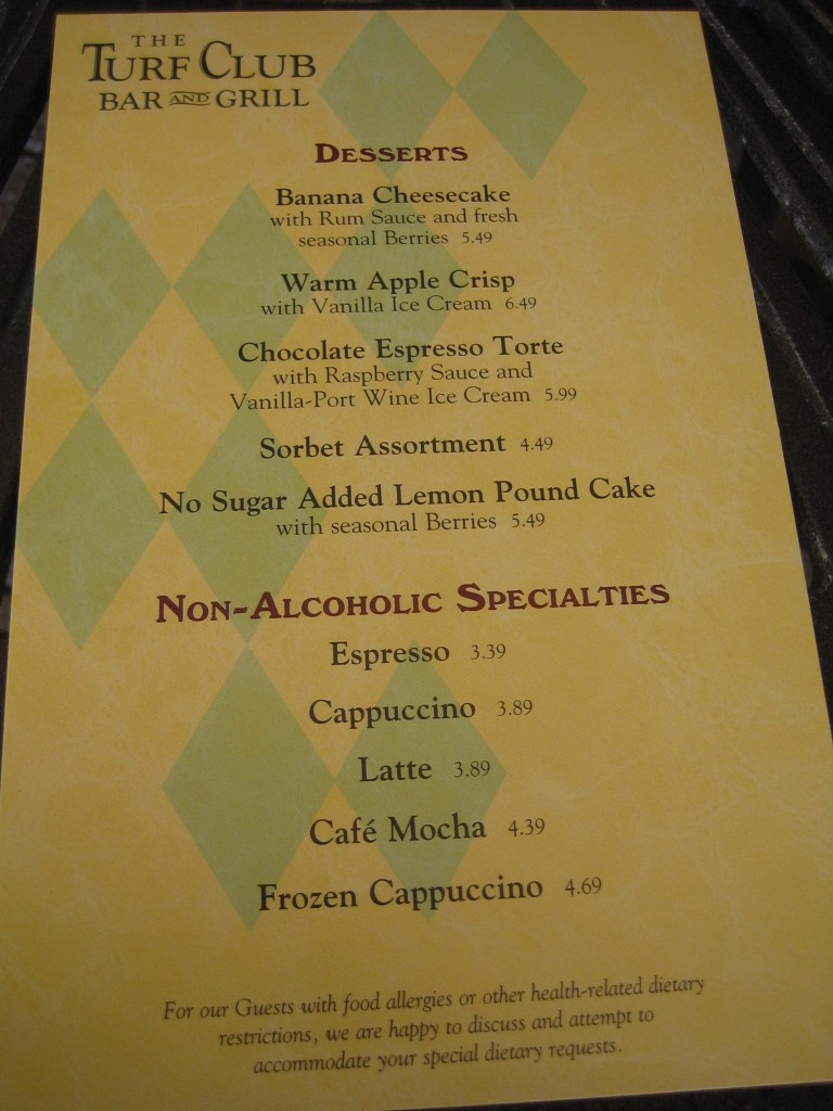 Saratoga Springs Turf Club Dessert Menu