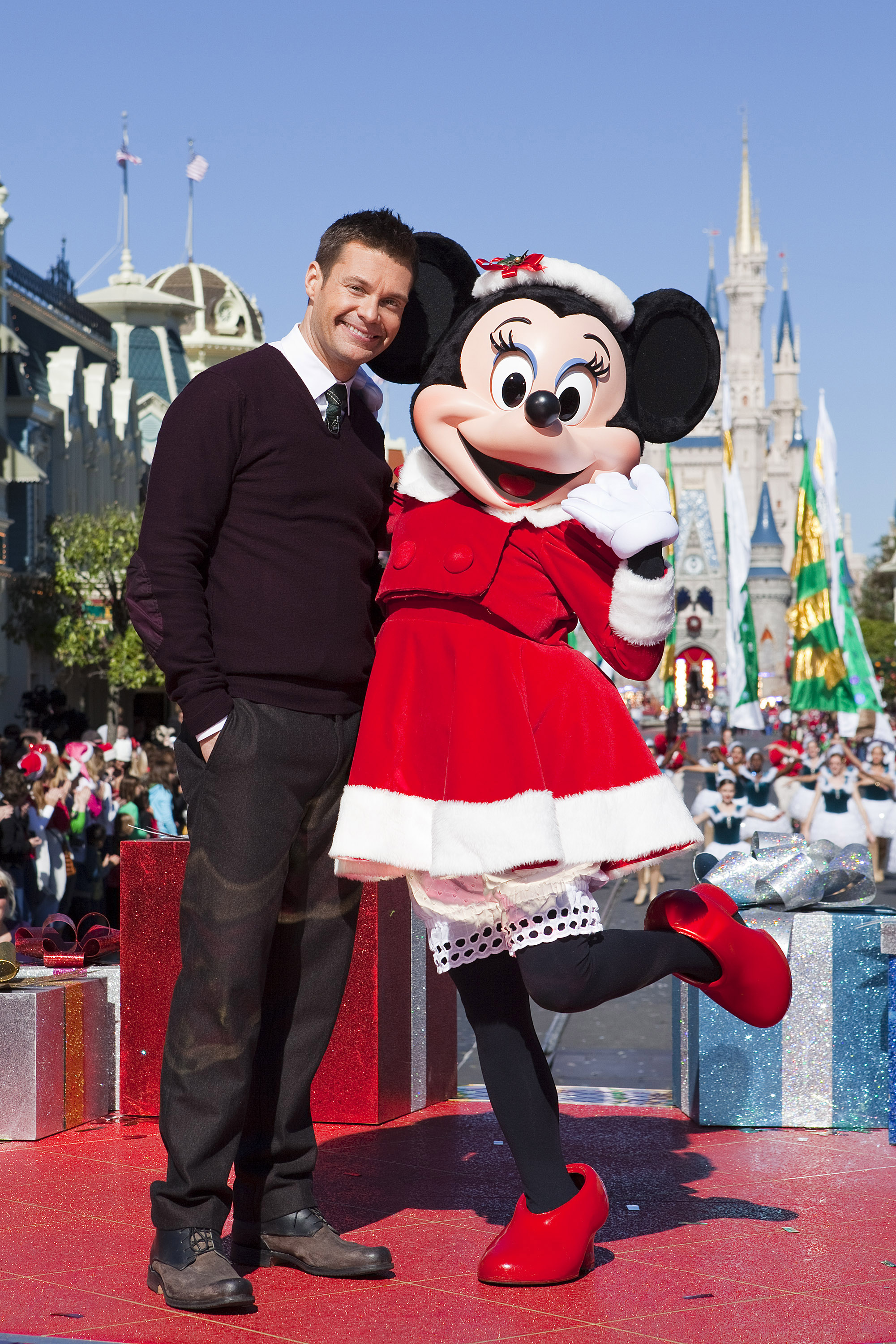 Ryan Seacrest and Minnie Mouse at the Magic Kingdom