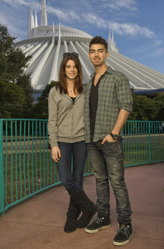 Ashley Greene and Joe Jonas Pose in Front of Space Mountain in the Magic Kingdom