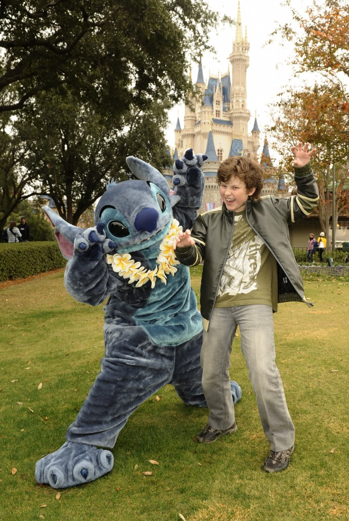 Nolan Gould of 'Modern Family' Poses with Stitch at the Magic Kingdom