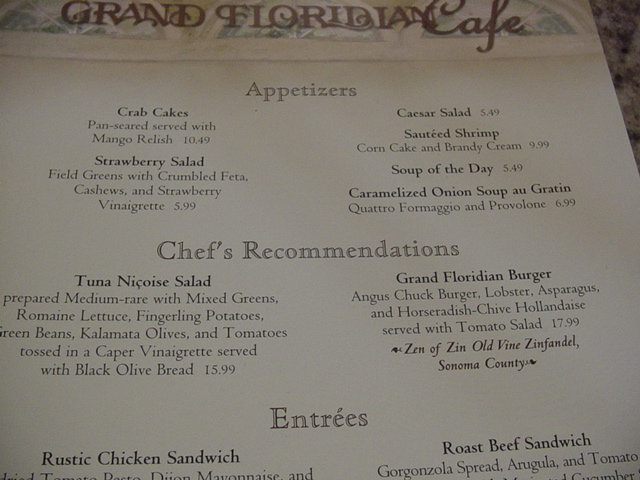 Lunch at the Grand Floridian Cafe in Walt Disney World