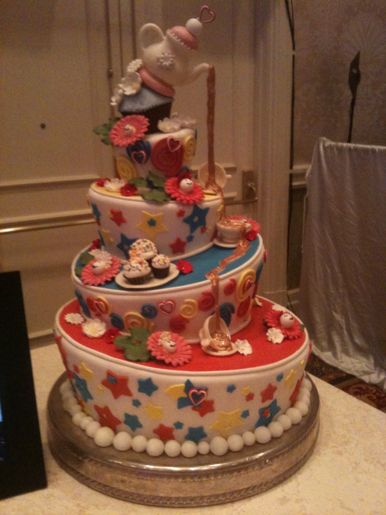 whimsical topsy turvey Disney Wedding Cake