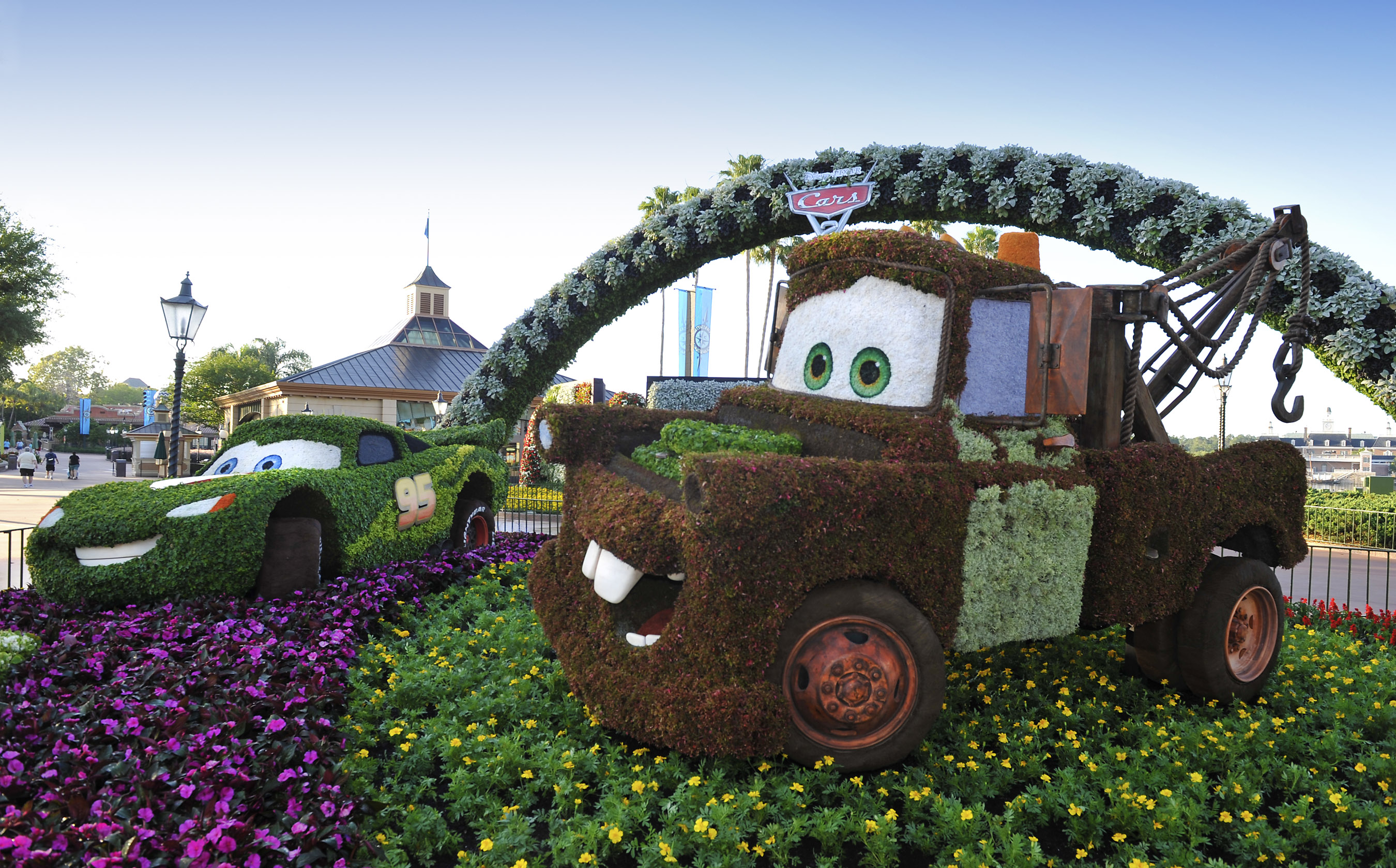 Disney Topiary Part - 21: Better Late Than Never: Mater Topiary Finally Installed At Epcot | Disney  Every Day