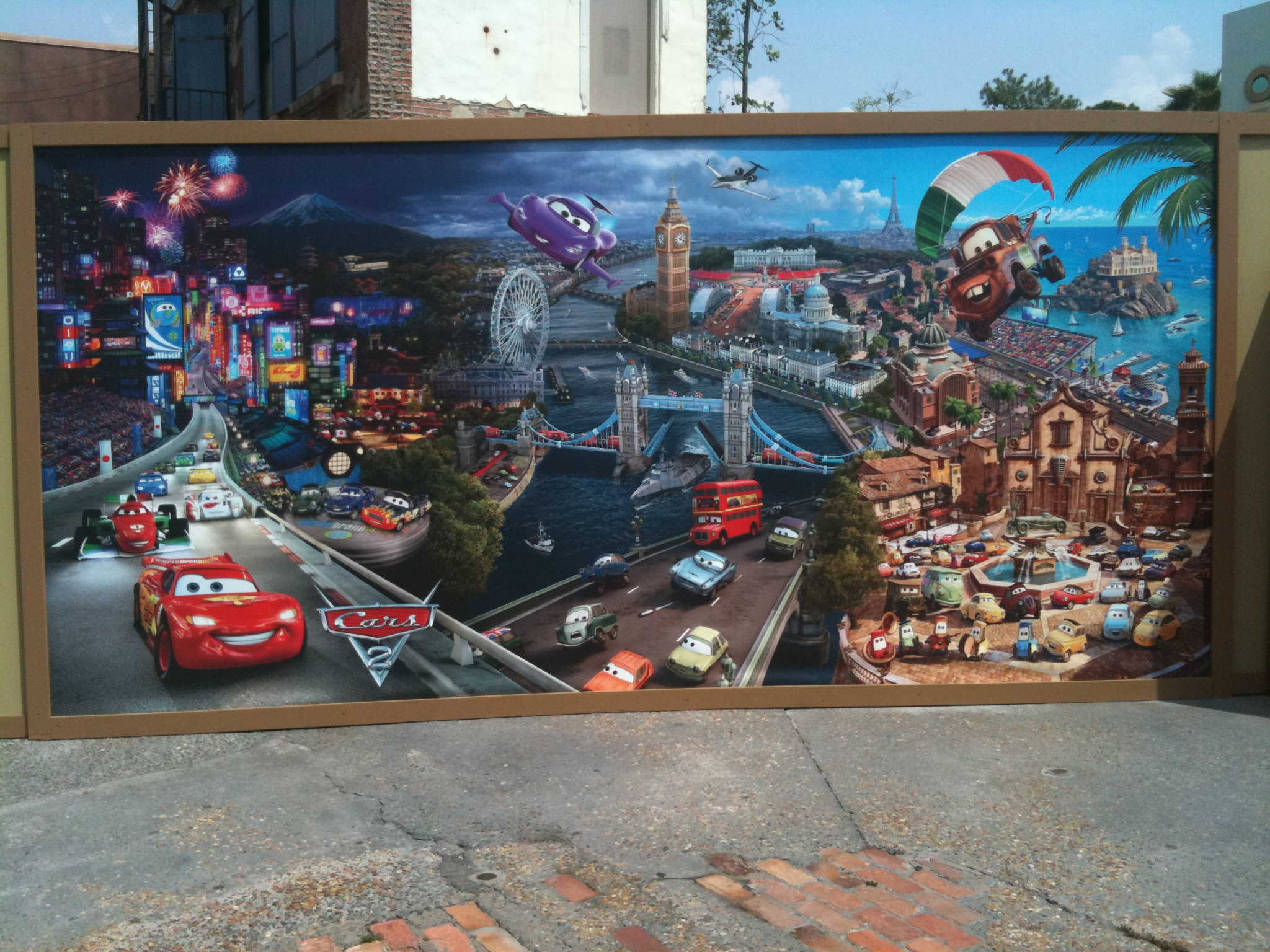 Wordless Wednesday Pixar Cars 2 Mural At Walt Disney World