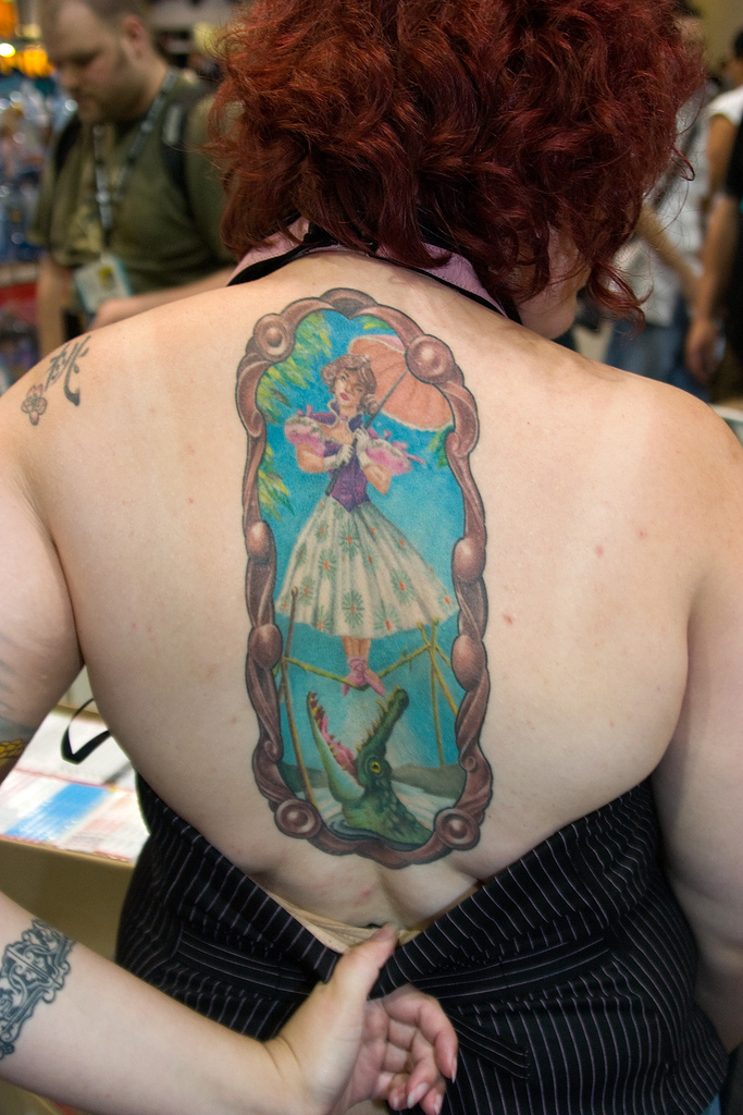 Haunted Mansion Parasol Girl Back tattoo