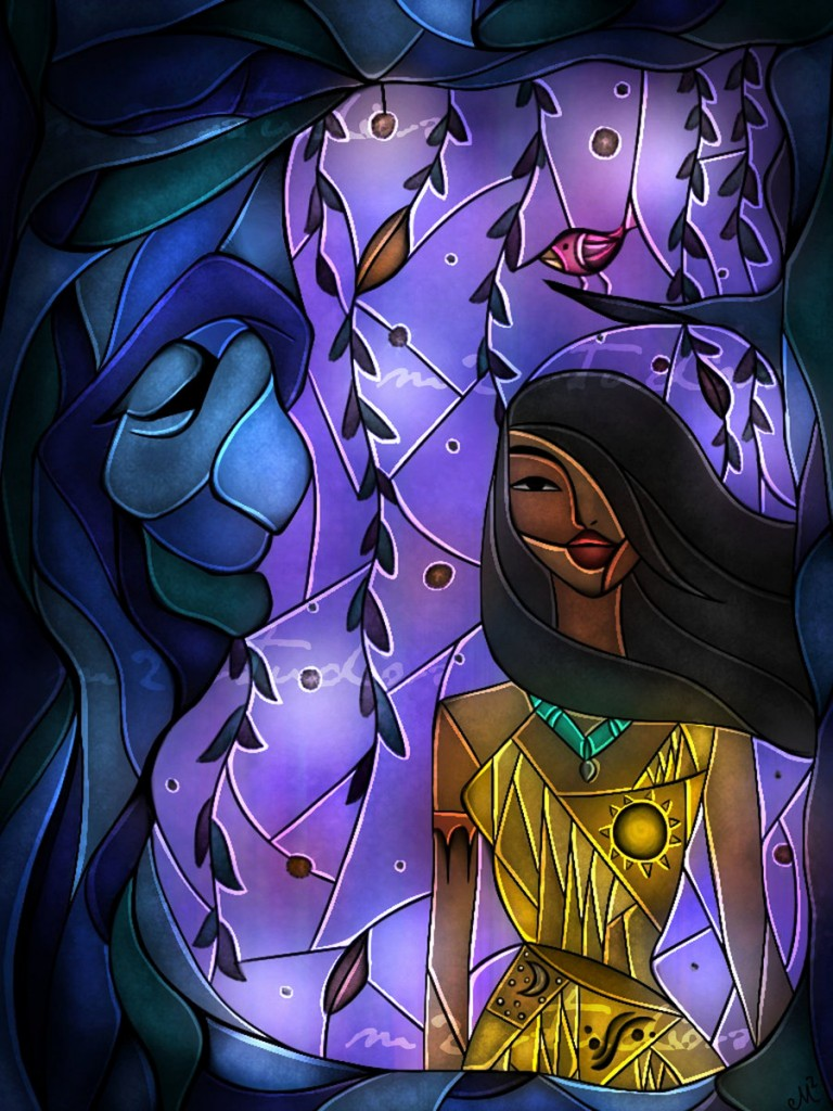 pocahontas disney stained glass
