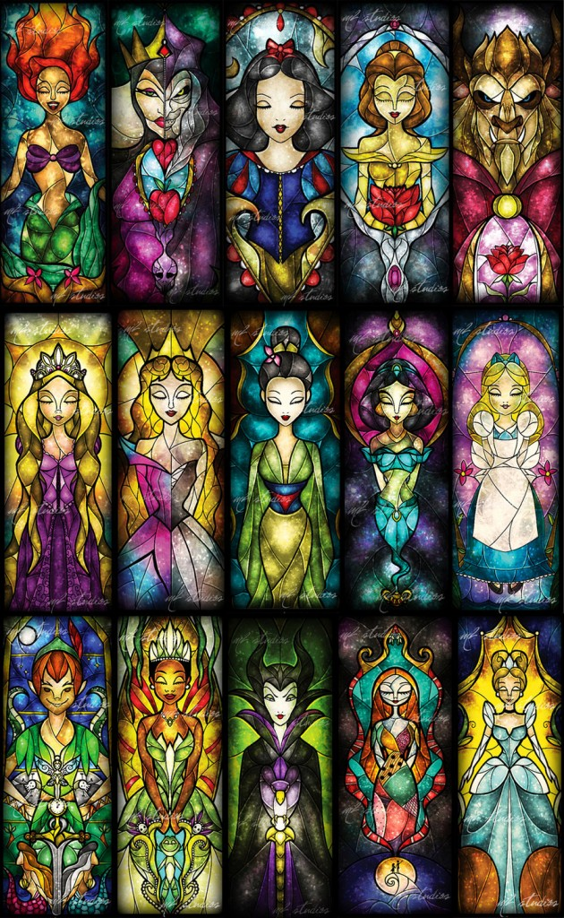 disney character stained glass