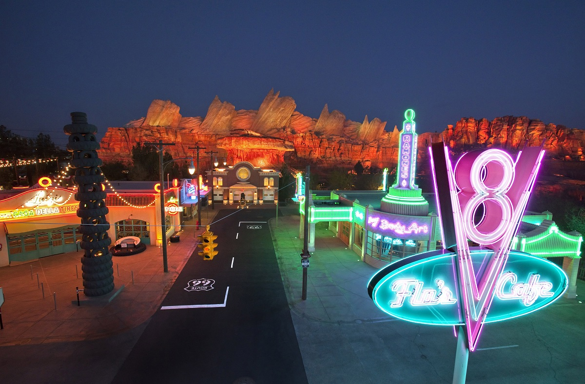 Cars Land Disney Night Neon