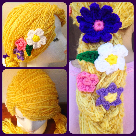 Disney Tangled Rapunzel Braid with Flowers Crochet Hat