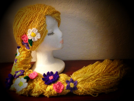 Disney Tangled Rapunzel Braid with Flowers Crochet Wig