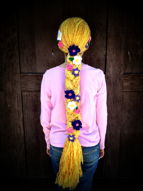 Disney Tangled Rapunzel Braid with Flowers Crochet