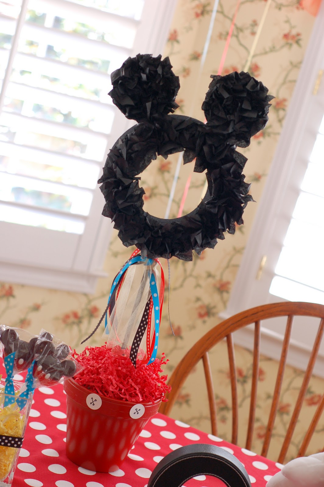 Mickey Mouse Ribbon and Tissue Party Topiary Centerpiece