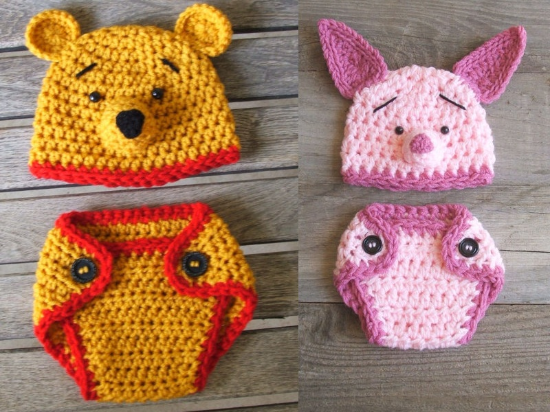 Winnie the Pooh and Piglet Disney Baby Diaper Covers and Hats