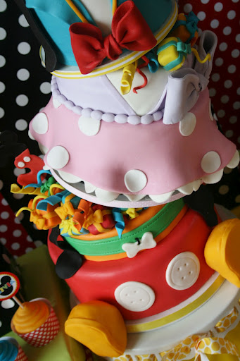 Topsy Turvey Six Layer Disney Character Birthday Cake Bottom