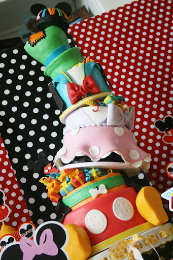 Topsy Turvey Six Layer Disney Character Birthday Cake Full