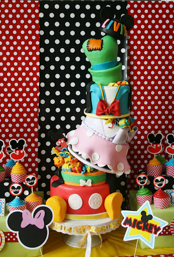 Topsy Turvey Six Layer Disney Character Birthday Cake