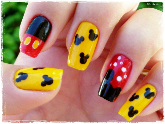 Traditional Mickey Mouse Nail Art Manicure