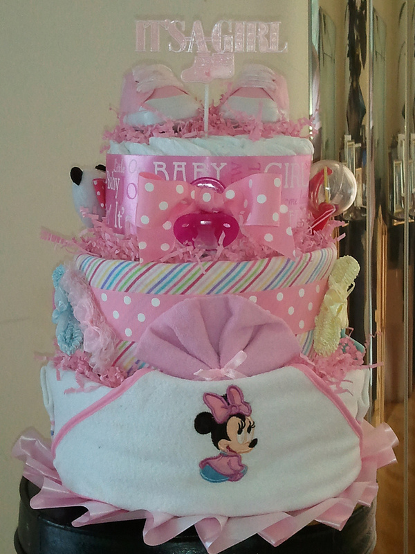 3 Tier Minnie Mouse Disney Diaper Cake