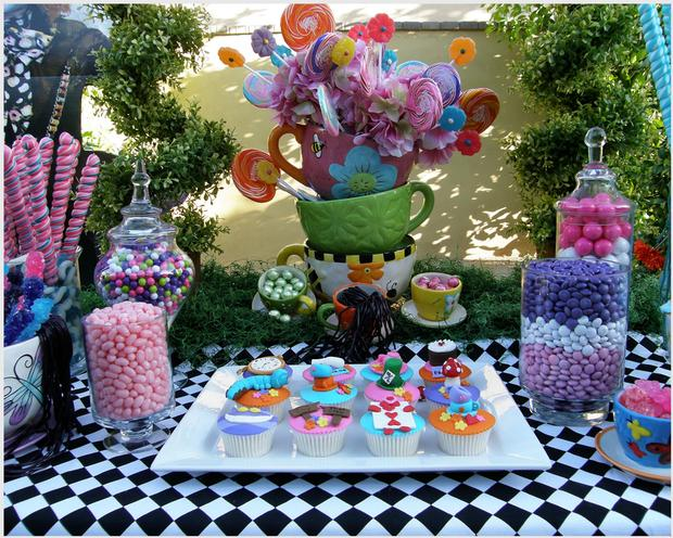Alice in Wonderland Party Dessert Table and Candy Buffet