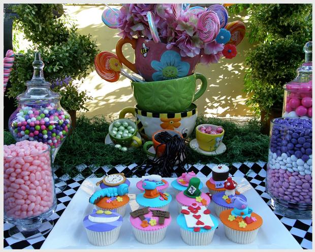 Alice in Wonderland Party Dessert Table and Candy Cupcakes