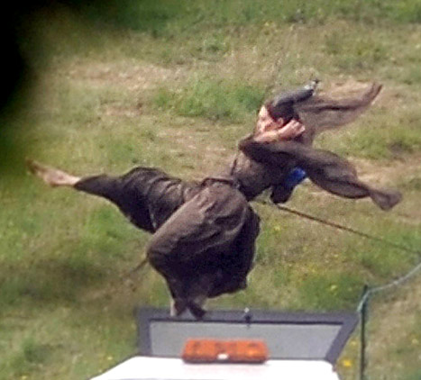 Photo of Angelina Jolie in London Doing Stunt Work for Disney's Maleficent