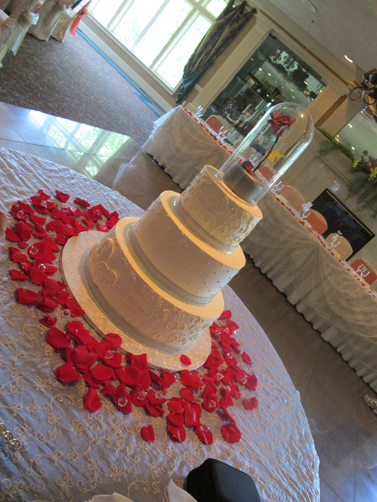 Beauty and the Beast Red Rose Disney Wedding Cake