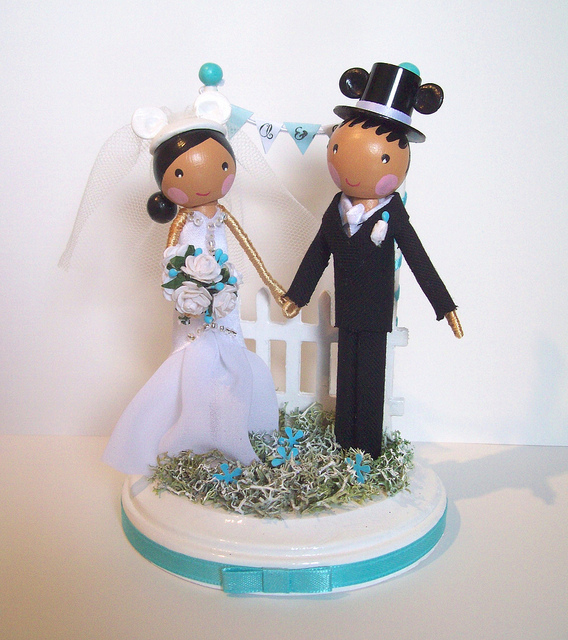 Disney Bride and Groom Winter Wedding Cake Topper