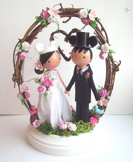 Disney Bride and Groom Woodland Wedding Cake Topper