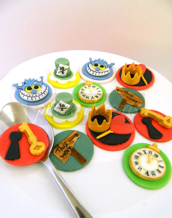 Edible Alice in Wonderland Disney Cupcake Toppers