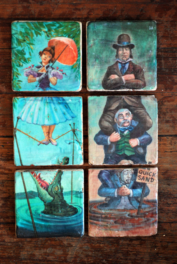 Haunted Mansion Stretching Portrait Italian Marble Coasters