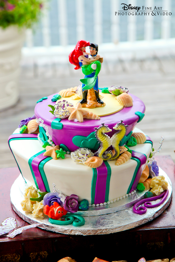 Little Mermaid Prince Eric and Ariel Disney Wedding Cake