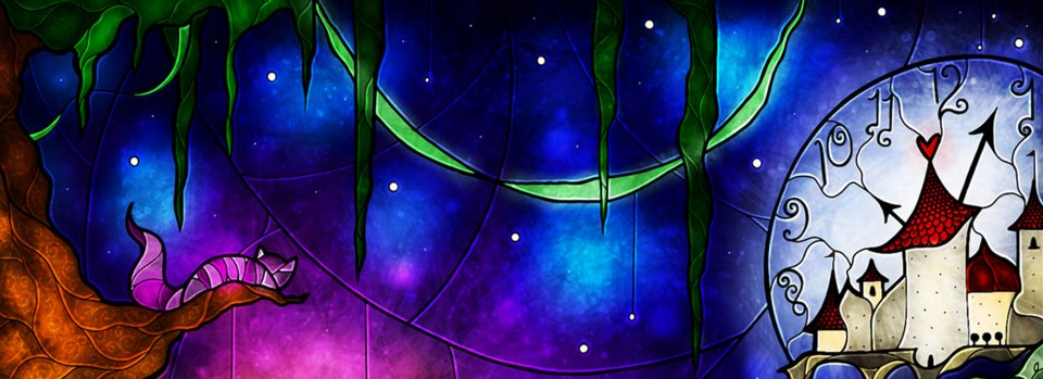 3 Free Stained Glass Alice In Wonderland Facebook Cover Photos