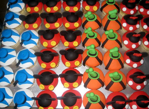 Mickey Minnie Goofy and Donald Character Cupcakes