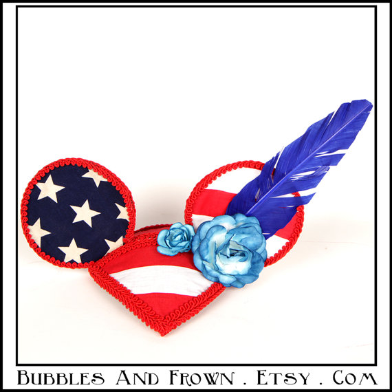 Minnie Mouse Hat Patriotic Feather